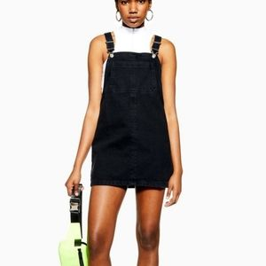 Topshop Black Velvet Pinafore Dress